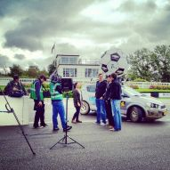 Filming the start of the Mongol Rally