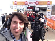 Filming on the start line for Sport Relief 2014